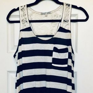 Collective Concepts Navy & White Stripe Tank